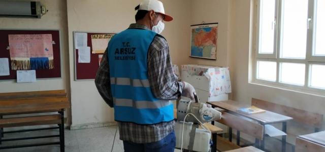 Arsuz'da Okullar Dezenfekte Ediliyor